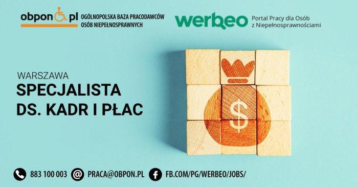 Specjalista ds. kadr i płac - praca stacjonarna w Warszawie